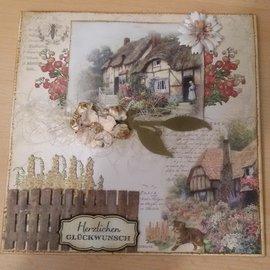 LaBlanche 4x carta di design, 30,5 x 30,05 cm, stampata su entrambi i lati, cottage