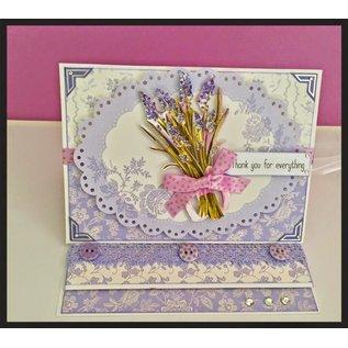Bilder, 3D Bilder und ausgestanzte Teile usw... Luxe A4 3D stansvel met zilverfolie, Lavendel