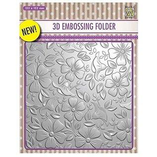 3D Embossingsfolder, Achtergronden Bloemen, 152 x 152 mm. Voor diep reliëfdruk op kaarten, albums, collages, scrapbooking, mixed media en nog veel meer