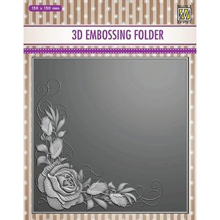 3D embossing folder, corner rose, 152 x 152mm. For deep relief embossing on cards, albums, collage, scrapbooking, mixed media and much more