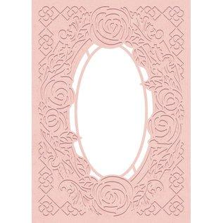 Crafter's Companion Embossing folder en ponssjabloon, embossing en ponsen, Decoratieve rozenlijst, 12,7 x 17,8 cm,