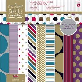 Docrafts Designblok, 30,5 x 30,5 cm, stippen en strepen, 16 x 2 ontwerpen, 32 vellen