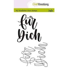 """Craftemotions Timbro trasparente, A6, lettera scritta a mano, testo in tedesco, """"per te"""","""