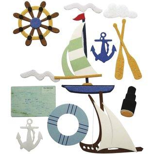 STICKER / AUTOCOLLANT Gloednieuw! 3D decosticker: zeilboot, zomer, vakantie! 13 motieven