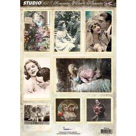 Bilder, 3D Bilder und ausgestanzte Teile usw... Romantic Pictures, Stanzbogen mit 8 Bilder.