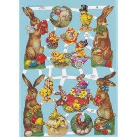 Bilder, 3D Bilder und ausgestanzte Teile usw... Easter pictures, scrap pictures, 13 motifs. For design on cards, albums, collage, eggs, decoration, decoupage and much more!