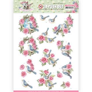 AMY DESIGN Stanzbogen, A4, 3D Bird und Roses, Zur Gestaltung auf Karten, Alben, Kollage, Scrapbooking, Dekorationen u.v.m.