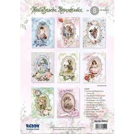 HELT NY! Kort, håndværkssæt, rosenbørn, sæt til design af 12 kort!
