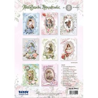 GLOEDNIEUW! Kaarten, handwerkset, roze kinderen, set voor het ontwerpen van 12 kaarten!