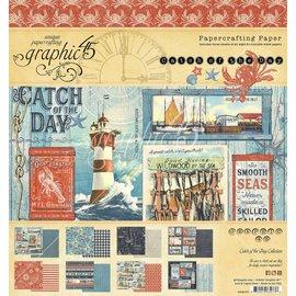 GRAPHIC 45 TOUT NEUF! Catch of the Day 20 x 20 cm, bloc de papier 8 x 8 pouces