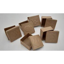 Holz, MDF, Pappe, Objekten zum Dekorieren 6  Schachtelchen mit geprägte Früchtemotive auf der Deckel, Format 7 x 7x 4 cm