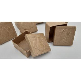 Holz, MDF, Pappe, Objekten zum Dekorieren 6 doosjes met fruitmotieven in reliëf op het deksel, afmeting 7 x 7 x 4 cm