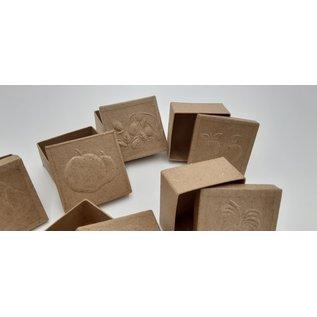 Holz, MDF, Pappe, Objekten zum Dekorieren 6 boxes with embossed fruit motifs on the lid, size 7 x 7 x 4 cm