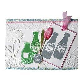 Motiv stempel sæt, Spring Flowers & Bottles, stempel sæt A5 format