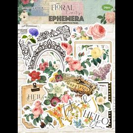 Embellishments / Verzierungen Set di ephemera con arazzo floreale, 24 parti!