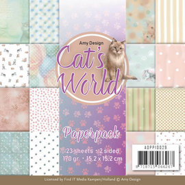 AMY DESIGN Paperpack SET - Amy Design - Cats World + 1 Stanzbogen mit Katze Motive
