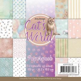 AMY DESIGN SET Paperpack - Amy Design - Cats World + 1 hoja troquelada con motivos de gatos