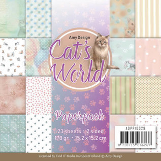 AMY DESIGN Paperpack SET - Amy Design - Cats World + 1 die cut sheet with cat motifs