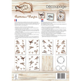 DECOUPAGE AND ACCESSOIRES Decoupage SET, Birds, with 8x A4 sheets