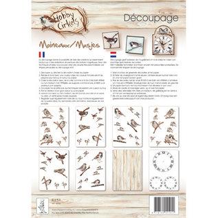 DECOUPAGE AND ACCESSOIRES SET Decoupage, Uccelli, con 8 fogli A4