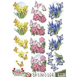 AMY DESIGN A4, pushout, flores con mariposas
