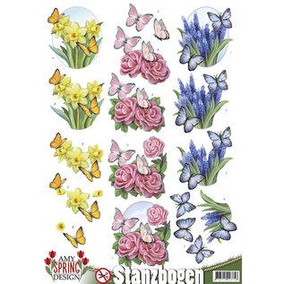 AMY DESIGN A4, Pushout, Blumen mit Schmetterlinge