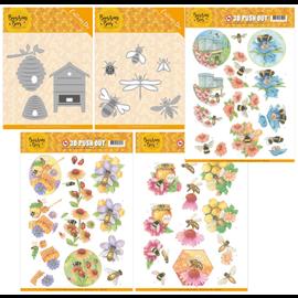 Joy!Crafts / Jeanine´s Art, Hobby Solutions Dies /  Conjunto de colección, 2 conjuntos de plantillas de perforación diferentes + 3 hojas de perforación, abejas