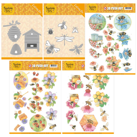 Joy!Crafts / Jeanine´s Art, Hobby Solutions Dies /  Kollektion SET, 2 diverse Stanzschablonen sets + 3 Stanzbögen, Bienen