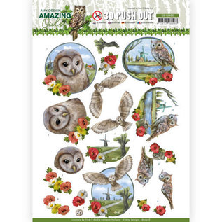 AMY DESIGN 1x 3D Push Out, owl, 3 motifs for design on cards, albums, scrapbooking and much more