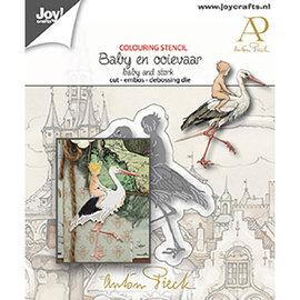 Skabelon til skæring, prægning og prægning, baby med stork, Joy Crafts, 6002/1612