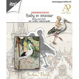 Gabarit de découpe, gaufrage et gaufrage, bébé avec cigogne, Joy Crafts, 6002/1612
