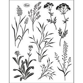 VIVA DEKOR (MY PAPERWORLD) Gennemsigtig stempel SÆT, græs, format 14 x 18 cm, af Viva Dekor