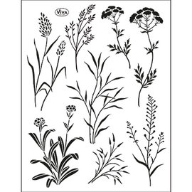VIVA DEKOR (MY PAPERWORLD) Transparent stamp SET, grasses, format 14 x 18cm, by Viva Dekor