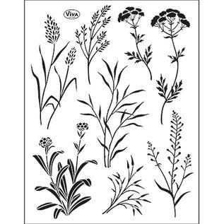 VIVA DEKOR (MY PAPERWORLD) Transparante stempel SET, grassen, formaat 14 x 18 cm, door Viva Dekor