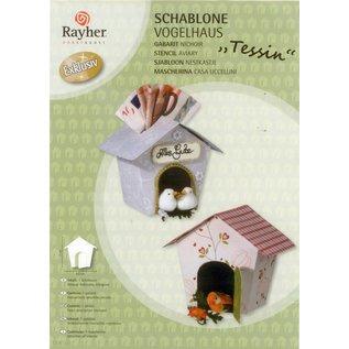Art stencil, vogelhuisje, voor knutselen met papier, schuimrubber, vilt,