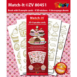 Knutselpakket, voor 8 kaarten, cupcakes