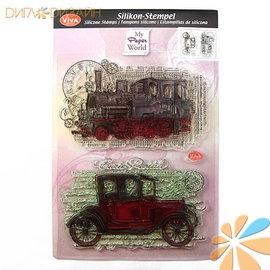 VIVA DEKOR (MY PAPERWORLD) Motif stamp set, oldtimer, A5 format