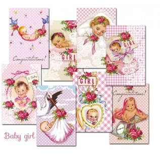 decorer Papierset, mini, 7 x 10,8 cm, met keuze uit baby jongen en meisje