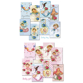 decorer Paper set, mini, 7 x 10.8 cm, with a choice of baby boy and baby girl
