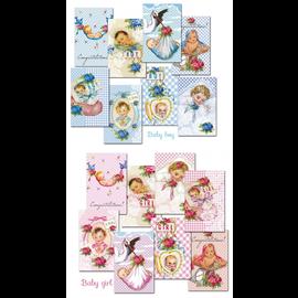 decorer Papierset, Mini, 7 x 10,8 cm, mit Auswahl aus Baby Boy und Baby Girl