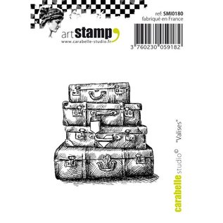STEMPEL / STAMP: GUMMI / RUBBER Motiefstempel, mini vintage koffer,
