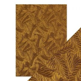Tonic Studio´s Tonic Studios, Embossed Paper, Copper Feathers, 5 Sheets, 150gsm,