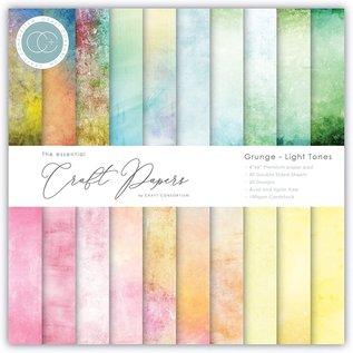 Craft Consortium Papierset, grunge, heldere levendige kleuren, 40 dubbelzijdige vellen, 20 ontwerpen, 180 g/m² karton