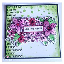 Julie Hickey Stempelmotief, transparant, bloemen, A6, 105 x 148 mm, Julie Hickey