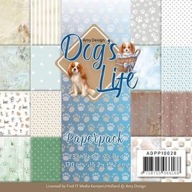 AMY DESIGN Designerpute, papirpute, Dog's Live, 23 ark, 170gsm