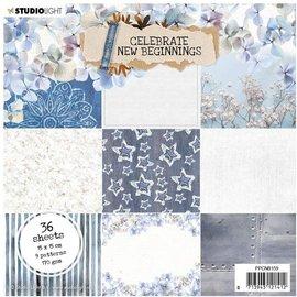 Studio Light Designer pad, Paper Celebrate, 36 sheets, 15 x 15 cm, 9 designs, 170 gsm