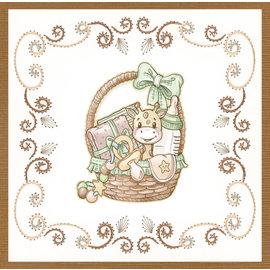 Stanset ark, A4, Yvonne Creations - Nyfødt - Babykurv