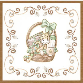 Udstanset ark, A4, Yvonne Creations - Nyfødt - Babykurv