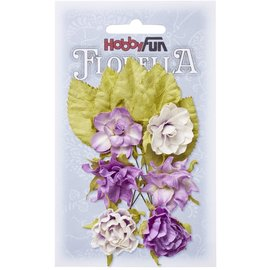 Flowers and leaves made of mulberry paper, 3 cm, lavender color, 6 pieces