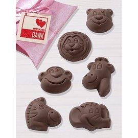 GIESSFORM / MOLDS ACCESOIRES Molde de chocolate, Safari, 4,5 x 5,5 cm, 6 formas